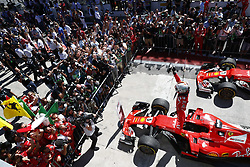 Nov 12, 2017 - Sao Paulo, Brazil - German driver SEBASTIAN VETTEL, Scuderia Ferrari, celebrates after winning the Formula One Brazilian Grand Prix, at Interlagos circuit. (Credit Image: © Hoch Zwei via ZUMA Wire)
