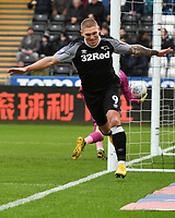Football - 2019 / 2020 Sky Bet (EFL) Championship - Swansea City vs. Derby County<br /> <br /> Martyn Waghorn of Derby County celebrates scoring his team's first goal, at The Liberty Stadium.<br /> <br /> COLORSPORT/WINSTON BYNORTH