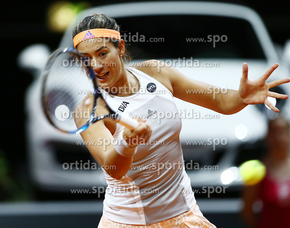 21.04.2015, Porsche Arena, Stuttgart, DEU, WTA Tour, Stuttgart Porsche Grand Prix, im Bild Garbine Muguruza (ESP) spielt eine Vorhand, Freisteller, Aktion /Action // during the Stuttgart Porsche Grand Prix WTA Tour at the Porsche Arena in Stuttgart, Germany on 2015/04/21. EXPA Pictures &copy; 2015, PhotoCredit: EXPA/ Eibner-Pressefoto/ Neis<br /> <br /> *****ATTENTION - OUT of GER*****
