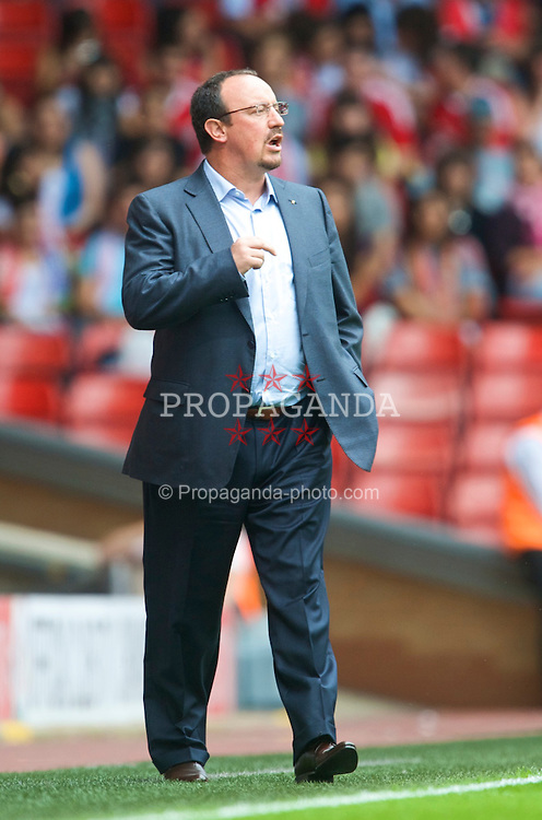 LIVERPOOL, ENGLAND - Saturday, August 8, 2009: Liverpool's manager Rafael Benitez during the pre-season friendly match against Club Atletico de Madrid at Anfield. (Pic by: David Rawcliffe/Propaganda)