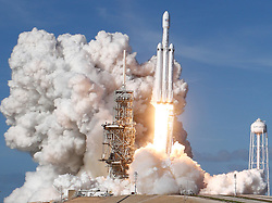 February 6, 2018 - Cape Canaveral, U.S. - The SpaceX Falcon Heavy blasts off from Pad 39A at the Kennedy Space Center in Florida on its demonstration mission carrying CEO Elon Musk's cherry red Tesla roadster toward an orbit near Mars. (Credit Image: © Gene Blevins via ZUMA Wire)