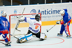 Goalie Petri Karhu of Finnland stops the Saso Rajsar's puck at Game 1 of IIHF In-Line Hockey World Championships Top Division Group match between National teams of Finnland and Slovenia on June 28, 2010, in Karlstad, Sweden. (Photo by Matic Klansek Velej / Sportida)
