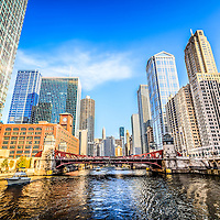 Picture of Chicago at LaSalle Street Bridge with the Chicago River, Reid Murdoch Building, Marina City Towers, Kemper Building, Leo Burnett Building, United Building, and LaSalle-Wacker Building.