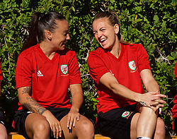 ALHAURÍN EL GRANDE, SPAIN - Monday, March 4, 2019: Wales' Natasha Harding and Kayleigh Green during a training session at the at Alhaurin Golf Resort in Spain. (Pic by David Rawcliffe/Propaganda)