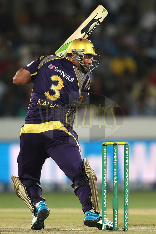 Jacques Kallis of the Kolkata Knight Riders looks back after playing a delivery behind during the first semi final match of the Oppo Champions League Twenty20 between the Kolkata Knight Riders and the Hobart Hurricanes held at the Rajiv Gandhi Cricket Stadium, Hyderabad, India on the 2nd October 2014<br /> <br /> Photo by:  Shaun Roy / Sportzpics/ CLT20<br /> <br /> <br /> Image use is subject to the terms and conditions as laid out by the BCCI/ CLT20.  The terms and conditions can be downloaded here:<br /> <br /> http://sportzpics.photoshelter.com/gallery/CLT20-Image-Terms-and-Conditions-2014/G0000IfNJn535VPU/C0000QhhKadWcjYs