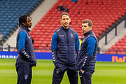 Joe Aribo of Rangers FC, Nikola Katic of Rangers FC & Jon Flanagan of Rangers FC ahead of the Betfred Scottish League Cup semi-final match between Rangers and Heart of Midlothian at Hampden Park, Glasgow, United Kingdom on 3 November 2019.