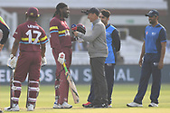 Chris Gayle of West Indies is interviewed during the International Twenty/20 match at Lord's, London<br /> Picture by Simon Dael/Focus Images Ltd 07866 555979<br /> 31/05/2018