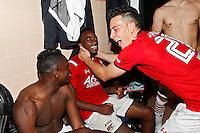 ALKMAAR - 27-08-15, Europa League,  2e voorronde,  AZ  - Astra GiurGiu, AFAS Stadion, 2-0, AZ speler Derrick Luckassen (l), AZ speler Ridgeciano Haps (m), AZ speler Thom Haye (r).
