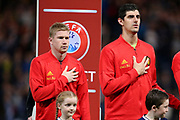 Belgium midfielder Kevin De Bruyne (7) (Manchester City) and Belgium goalkeeper Thibaut Courtois (1) (Real Madrid) during the national anthem during the UEFA European 2020 Qualifier match between Scotland and Belgium at Hampden Park, Glasgow, United Kingdom on 9 September 2019.