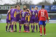 Jack Munns goal celebration during the Vanarama National League match between Aldershot Town and Cheltenham Town at the EBB Stadium, Aldershot, England on 28 November 2015. Photo by Antony Thompson.