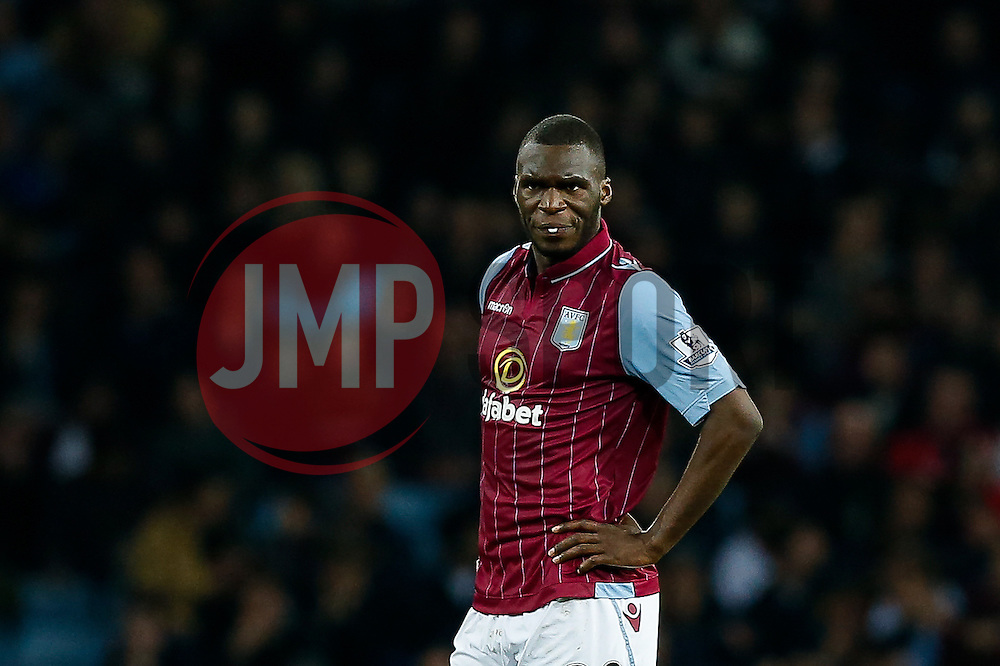 Christian Benteke of Aston Villa looks dejected after Charlie Austin of QPR (not pictured) scores a goal to make it 2-3 - Photo mandatory by-line: Rogan Thomson/JMP - 07966 386802 - 07/04/2015 - SPORT - FOOTBALL - Birmingham, England - Villa Park - Aston Villa v Queens Park Rangers - Barclays Premier League.