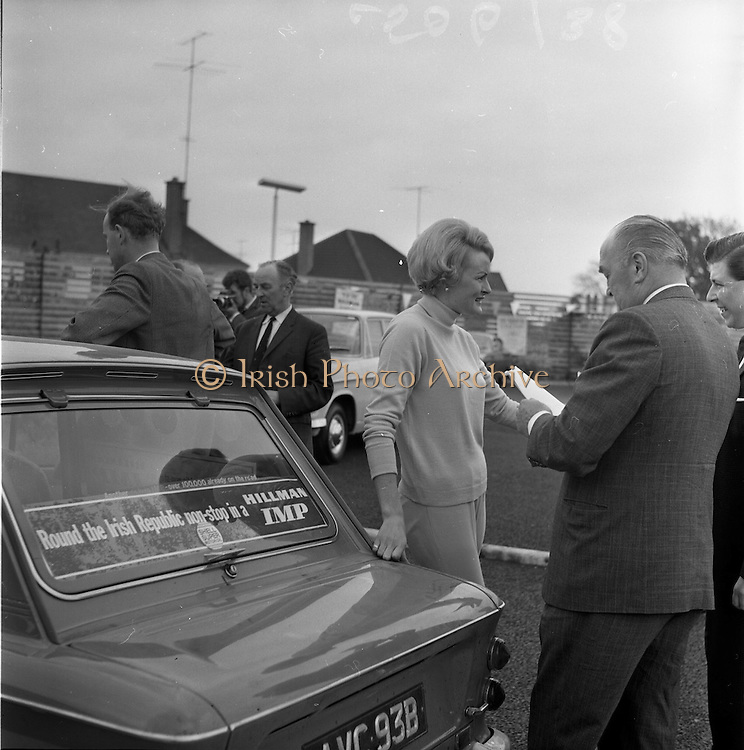 11/05/1965<br /> 05/11/1965<br /> 11 May 1965<br /> Rosemary Smith in Hillman Imp Endurance Test. Ms Smith by her car at the Ashurst Shell Service Station, Stillorgan Road, Dublin.