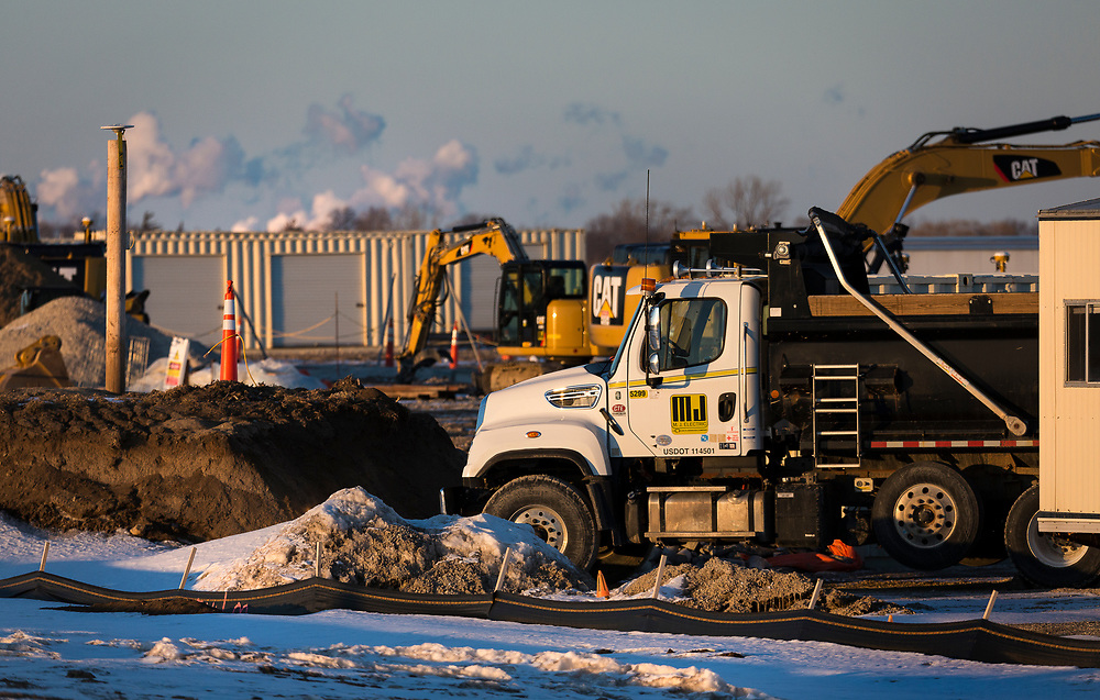 View of construction equipment along Highway H nearby Foxconn's Mount Pleasant technology campus in Mount Pleasant, Wisconsin, Sunday, March 3, 2019.