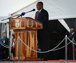 DURBAN, Feb. 22, 2017  South African President Jacob Zuma speaks during a celebration marking the Armed Forces Day in the eastern coastal city of Durban, South Africa, on Feb. 21, 2017. South Africa will continue its mediation efforts and peacekeeping operations in Africa, President Jacob Zuma said on Tuesday.  lrz) (Credit Image: © Zhai Jianlan/Xinhua via ZUMA Wire)