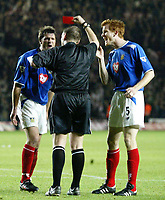 """SOUTHAMPTON V PORTSMOUTH CARLING CUP 02/12/2003<br />PORTSMOUTH'S ARJAN DE ZEEUW IS RED CARDED FOR """"FOUL"""" ON BEATTIE TO CONCEDED PENALTY<br />PHOTO SEAN RYAN  DIGITALSPORT"""