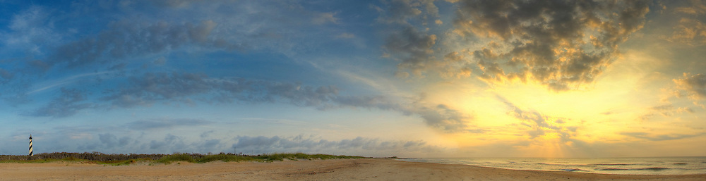 Hatteras<br /> <br /> Panoramic photograph of sunrise at Cape Hatteras Lighthouse, Buxton, NC  Print Size (in inches): 15x4; 24x6; 36x10; 48x13; 60x17; 72x20
