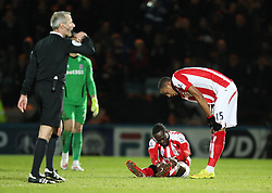 Stoke City's Victor Moses picks up an injury - Photo mandatory by-line: Matt McNulty/JMP - Mobile: 07966 386802 - 26/01/2015 - SPORT - Football - Rochdale - Spotland Stadium - Rochdale v Stoke City - FA Cup Fourth Round