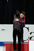 KELOWNA, BC - OCTOBER 26: Men's gold medalist Yuzuru Hanyu of Japan congratulates silver medalist Nam Nguyen of Canda during medal ceremonies of Skate Canada International held at Prospera Place on October 26, 2019 in Kelowna, Canada. (Photo by Marissa Baecker/Shoot the Breeze)