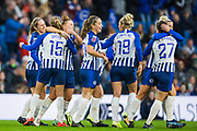 Kayleigh Green (Brighton & Hove) celebrates her 2nd goal during the FA Women's Super League match between Brighton and Hove Albion Women and Birmingham City Women at the American Express Community Stadium, Brighton and Hove, England on 17 November 2019.
