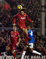 Photo: Jed Wee.<br />Liverpool v Birmingham City. Barclays Premiership. 01/02/2006.<br />Liverpool's Fernando Morientes heads at goal.