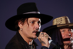 © London news Pictures. 22/06/2017. Glastonbury, UK. Actor JOHNNY DEPP attends and speaks at day 2 of the 2017 Glastonbury Festival. The five-day festival of contemporary performing arts is the highlight of the British festival season. Photo credit: Jason Bryant/LNP