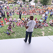 Former New York Yankees All-Star pitcher Mariano Rivera (CENTER) addressees the crowd during a backpack give-away sponsored by Mariano&quot; organization &quot;The Mariano Rivera Public Foundation&quot; Monday, August. 14 2017, at Rodney Square in Wilmington Delaware.<br /> <br /> More than 1,500 backpacks filled with back-to-school supplies was given to children in grades K through 5th grade.