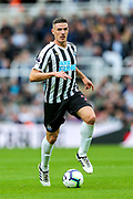 Ciaran Clark (#2) of Newcastle United on the ball during the Premier League match between Newcastle United and Arsenal at St. James's Park, Newcastle, England on 15 September 2018.