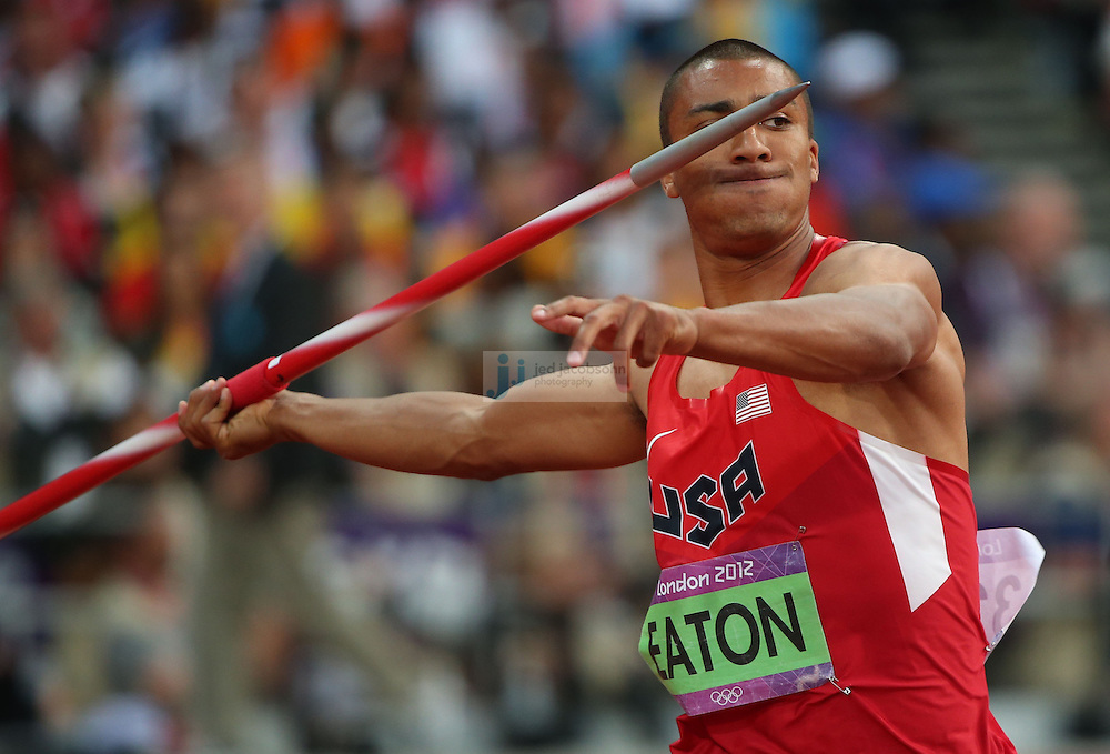 Ashton Eaton of the USA competes in the javelin portion of the decathlon during track and field at the Olympic Stadium during day 13 of the London Olympic Games in London, England, United Kingdom on August 9, 2012..(Jed Jacobsohn/for The New York Times)..