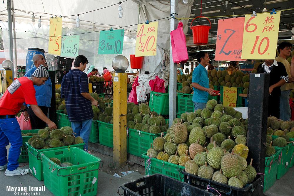 Durian vendors at Geylang open mart, Singapore