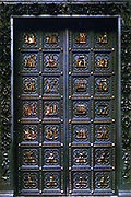 North doors of the Baptistry, Florence, Italy. Gilded bronze showing scenes for the New Testament. Lorenzo Ghiberti (1378-1455) Italian Renaissance artist  Sculpture Sculptor Metalwork