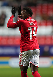 Charlton Athletics Tariqe Fosu celebrates after Milton Keynes Dons Scott Golbourne scored an own goal during the Sky Bet League One match at The Valley, Charlton.
