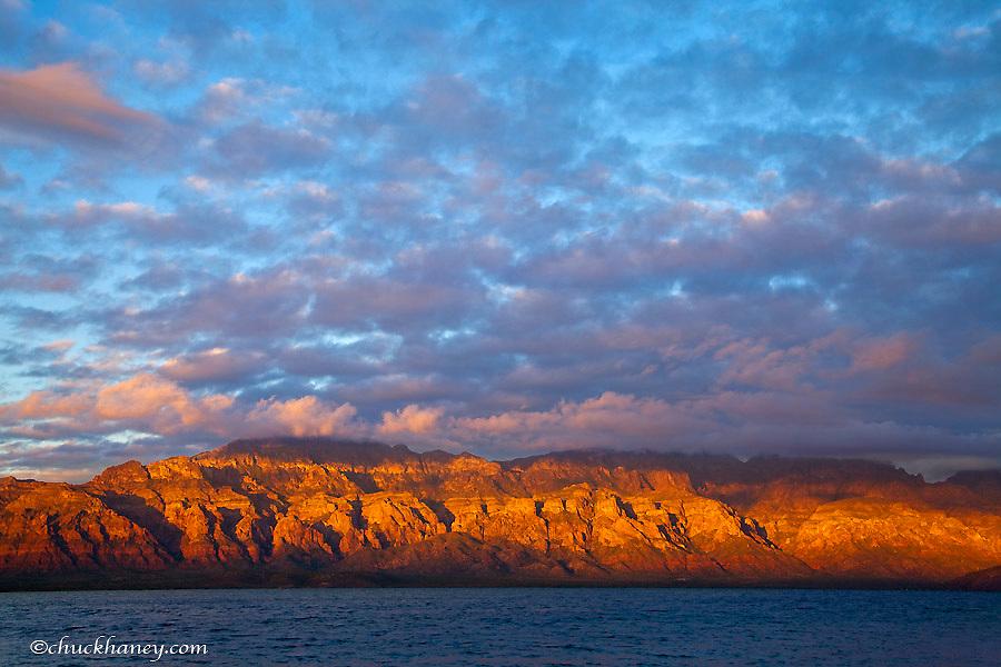 Morning light greets the Sierra de la Giganta Mountain Range along the Gulf of California near Loreto Mexico