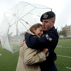 2017 Rose Queen Victoria Castellanos of Temple City is embraced by her brother John Janis of the US Air Force as he flew in from Italy to surprise his sister during BandFest at Pasadena City College in Pasadena, Calif., on Saturday, Dec. 31, 2016.