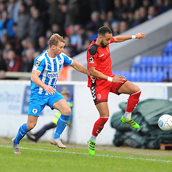 TELFORD COPYRIGHT MIKE SHERIDAN 22/12/2018 - Brendan Daniels (on loan from Port Vale) of AFC Telford battles for the ball with Gary Stopforth of Chester during the Vanarama Conference North fixture between Chester FC and AFC Telford United at the Swansway Deva Stadium, Chester.