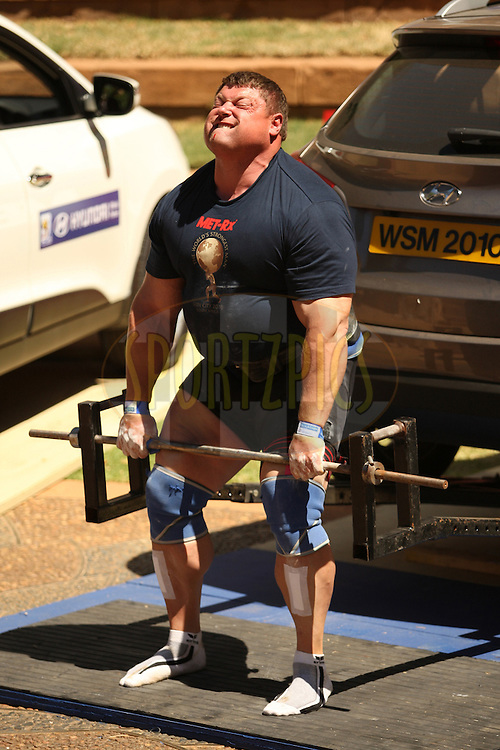 Defending champion Zydrunas Savickas (Lithuania) gives it his all in the deadlift (for reps) despite drops of blood dripping from his nose during the final rounds of the World's Strongest Man competition held in Sun City, South Africa.