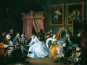 Marriage a la Mode:  The Toilette, 1743. Oil on canvas.Wiliam Hogarth (1697-1764) English painter and printmaker.    Countess entertaining in her bedroom. Image of satirical moral series on an aristocratic marriage arranged for money.