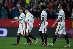 December 13, 2018 - Seville, Andalucia, Spain - Sevilla FC players celebrate the third goal from Sevilla FC during the Europa League match between Sevilla FC and Krasnodar in Ramón Sánchez Pizjuán Stadium (Seville) (Credit Image: © Javier MontañO/Pacific Press via ZUMA Wire)