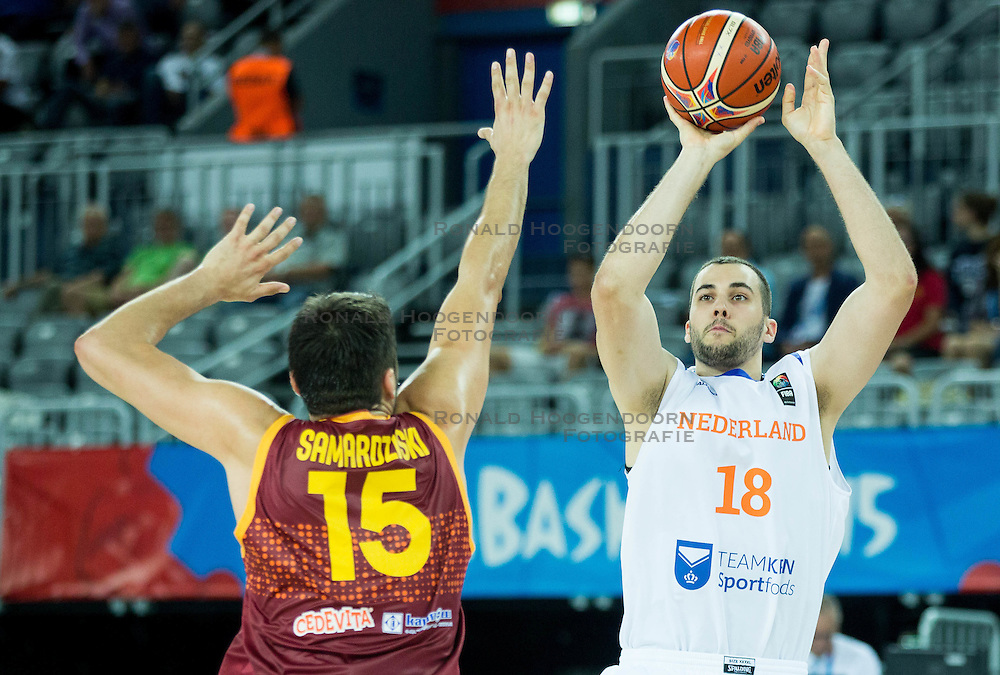 06-09-2015 CRO: FIBA Europe Eurobasket 2015 Nederland - Macedonie, Zagreb<br /> Nicolas de Jong of Netherlands during basketball match between Netherlands and Macedonia at Day 2 in Group C of FIBA Europe Eurobasket 2015, on September 6, 2015, in Arena Zagreb, Croatia. Photo by Vid Ponikvar / RHF