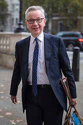 © Licensed to London News Pictures. 03/10/2019. London, UK. Chancellor of the Duchy of Lancaster Michael Gove arrives for the Cabinet meeting. Prime Minister Boris Johnson has revealed his proposed plan for the UK's departure from the EU. Photo credit: Rob Pinney/LNP