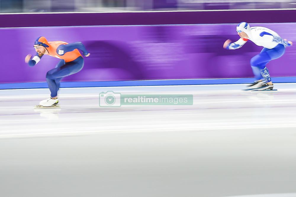 February 23, 2018 - Pyeongchang, Gangwon, South Korea - Kjeld Nuis of Netherlands winning the gold medal at 1000 meter speedskating at winter olympics, Gangneung South Korea on February 23, 2018. (Credit Image: © Ulrik Pedersen/NurPhoto via ZUMA Press)