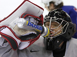 Goalkeeper Gaber Glavic at morning practice of Slovenian national team before match against Canada at Hockey IIHF WC 2008 in Halifax,  on May 02, 2008 in Metro Center, Halifax, Canada.  (Photo by Vid Ponikvar / Sportal Images)