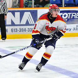 TRENTON, ON - Oct 26: Ontario Junior Hockey League game between Wellington Dukes and Trenton Golden Hawks. Parker Wood #10 of the Wellington Dukes during first period game action..(Photo by Shawn Muir / OJHL Images)