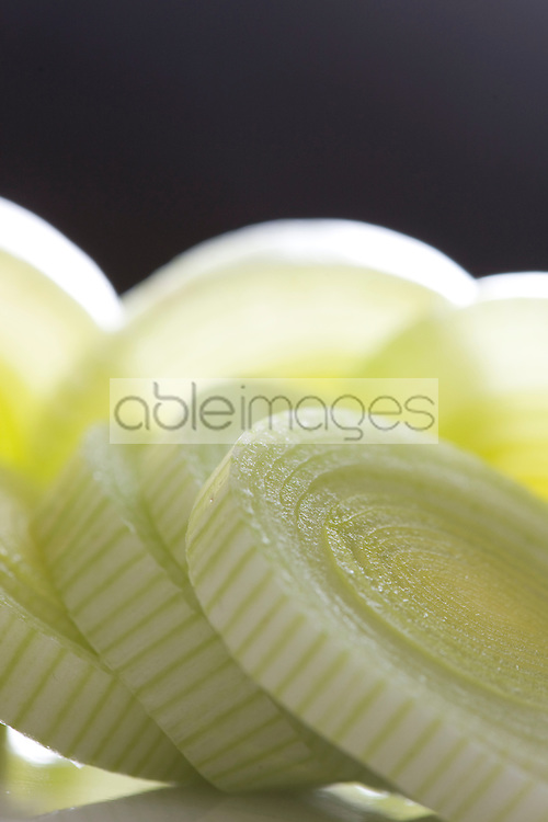 Extreme close up of sliced leek