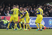 Oxford United stiker Rob Hall (19) scores a goal 0-1during the EFL Sky Bet League 1 match between AFC Wimbledon and Oxford United at the Cherry Red Records Stadium, Kingston, England on 14 January 2017. Photo by Stuart Butcher.