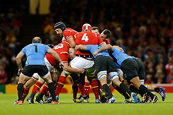 Wales Lock Luke Charteris in action at a maul - Mandatory byline: Rogan Thomson/JMP - 07966 386802 - 20/09/2015 - RUGBY UNION - Millennium Stadium - Cardiff, Wales - Wales v Uruguay - Rugby World Cup 2015 Pool A.