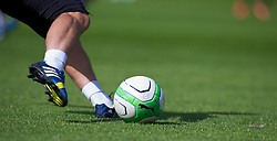 CARDIFF, WALES - Wednesday, September 4, 2013: A Puma football during a training session at the Vale of Glamorgan ahead of the 2014 FIFA World Cup Brazil Qualifying Group A match against Macedonia. (Pic by David Rawcliffe/Propaganda)