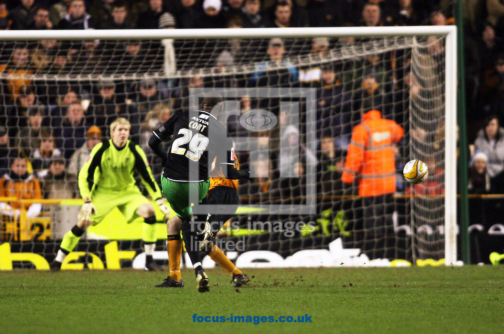 Wolverhampton - Tuesday February 3rd, 2009: Norwich City's Carl Cort scores to make it  2-1 against Wolverhampton Wanderers during the Coca Cola Championship match at Molineaux, Wolverhampton. (Pic by Chris Ratcliffe/Focus Images)