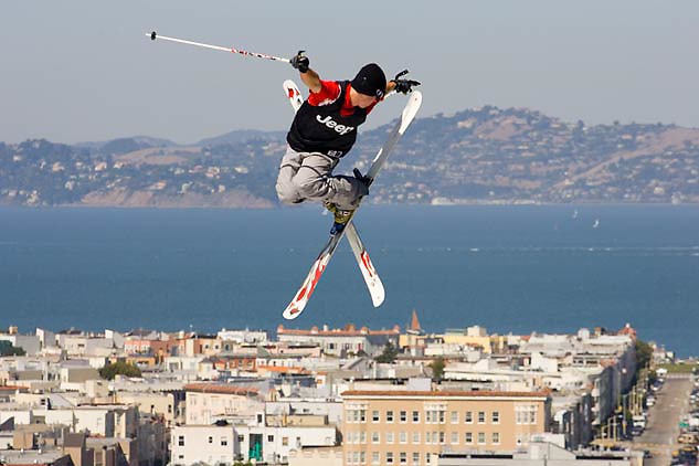 A skier gets air over fillmore street in san francisco in the icer air urban big-air ski and snowboard event in 2005.