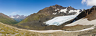 Composite panorama of Raven Glacier at Crow Pass in the Chugach National Forest in Southcentral Alaska. Summer. Afternoon.