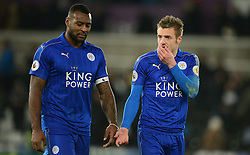 Jamie Vardy of Leicester City and Wes Morgan of Leicester City look dejected as they walk off the pitch. - Mandatory by-line: Alex James/JMP - 12/02/2017 - FOOTBALL - Liberty Stadium - Swansea, England - Swansea City v Leicester City - Premier League
